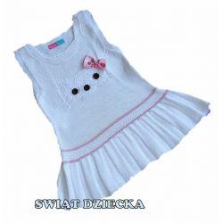 Sukienka dzianinowa dla dziewczynki 92/98(3)biała