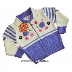 Sweter z naszywanymi kwiatami 98/104(3/4L) Rozmiar 128