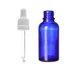 Butelka szklana niebieska z pipetą szklaną 10 ml [3203]