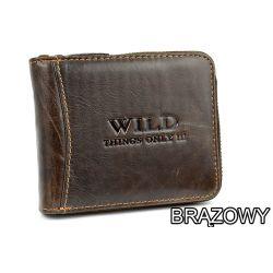 Skórzany męski portfel Wild na suwak poziomy HIT!