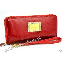Skórzany portfel damski cyrkonie kopertówka Fuerdanni