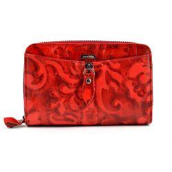 10bd70f83e489 Pojemny portfel damski skóra tłoczona suwak czerwony