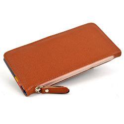 Portfel damski kopertówka etui na dokumenty brązowy