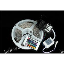 zestaw: taśma LED RGB 24W/5m +zasilacz+pilot IR24