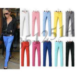 SPODNIE jeansy kolory szafir czarwony rurki L 40