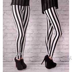 legginsy w pasy biało czarne