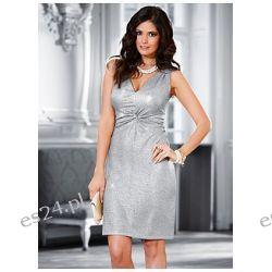 Elegancka sukienka z wplecioną metaliczną nitką