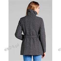 Krótki płaszcz Krótki płaszcz z materiału o wyglądzie wełny. Fason z dużym kołnierzem