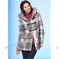 Kurtka zimowa Atrakcyjna kurtka zimowa w kratę. W kołnierzu wstawka ze sztucznego futerka.