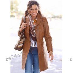 Płaszcz skórzany Elegancki płaszcz skórzany marki b.p.c. Mia Linea z wykładanym kołnierzem