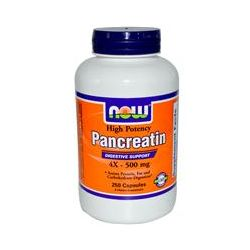 Now Foods, Pancreatin, High Potency, 4x - 500 mg, 250 Capsules - iHerb.com