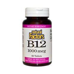 Natural Factors, B12, 1000 mcg, 60 Tablets - iHerb.com