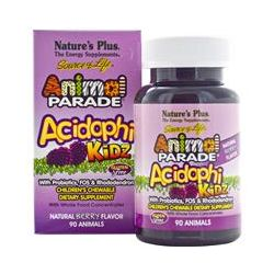 Nature's Plus, Source of Life, Animal Parade, AcidophiKidz, Children's Chewable, Natural Berry Flavor, 90 Animals