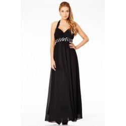 Lange Neckholder Kleider für Damen Cocktailkleider Abendkleider lange Ballkleider Maxikleider Kleid Frauen Schwarz