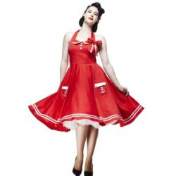 Hell Bunny 50s Sun Rot Elegante Seemann Kleid