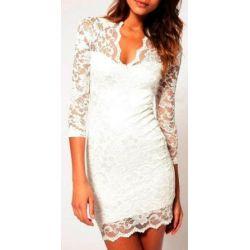 SODACODA® Sexy Spitzen Mini Kleid mit 3/4-langen Ärmeln und V-Neck - Alle Farben und Größen