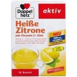 Doppelherz Heiße Zitrone mit Vitamin C + Zink, 10 Beutel, 2er Pack (2 x 150 g)