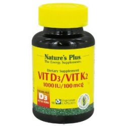 Natures Plus VITAMIN D3 1000 IU WITHK2 100 MCG Vegetarian Capsules 90