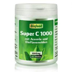 Biofood Super C 1000, mit je 1000mg Vitamin C. 120 Tabletten. Das Schutzvitamin für eine bärenstarke Immunabwehr. Mit Acerola, Citrus Bioflavonoiden etc