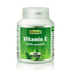Biofood Vitamin E, 400 iE. 240 Softgelkapseln. Natürliches, rein pflanzliches Vitamin E.