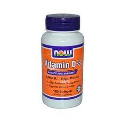 Now Foods, Vitamin D-3, High Potency, 1000 IU, 180 Softgels