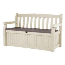 keter 17198357 gartenbank und kissenbox eden garden bench holzoptik kunststoff beige braun. Black Bedroom Furniture Sets. Home Design Ideas