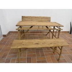 Bambus-Bierzelt Garnitur Festzelt-Garnitur Sitzgruppe Bank Holzmöbel Gartenmöbel Balkonmöbel Gartenset Partyzubehör