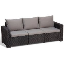 Allibert 212369 Lounge Sofa California (3-Sitzer), Rattanoptik, Kunststoff, graphit