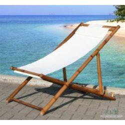 KMH, Strandstuhl / Deckchair aus Bambus mit weissem Bezug (#104004)
