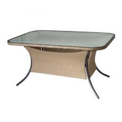 Tisch FERRARA 140x90cm, Alu + Polyrattan natur, Glasplatte