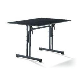Sieger 1360-55 Gastro-Tisch mit Puroplan-Platte 120 x 80 cm, Stahlrohrgestell eisengrau, Tischplatte Schieferdekor anthrazit