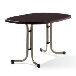 Sieger 252/C-M Boulevard-Klapptisch mit mecalit-Pro-Platte 140 x 90 cm, Stahlrohrgestell champagner, Tischplatte Schieferdekor mocca
