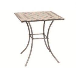 Siena Garden 247010 Tisch Fiore, Gestell silber-schwarz matt, Mosaikoptik in der Tischplatte, L 64 x B 64 x H 71 cm
