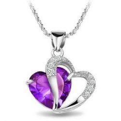 """Rhodiniert 925 Silver Diamond Akzent Amethyst herzfšrmige Halskette 18 """""""