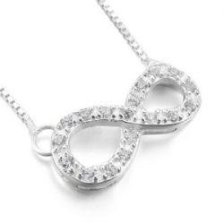 Justeel Damen 925 Sterling-Silber 925 Anhänger Halskette Bindeglied Kette Unendlichkeit Symbol (mit Geschenk Tüte)