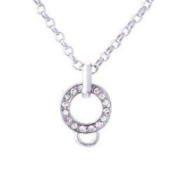 Morella Edelstahl Charms Halskette 70 cm mit Zirkoniasteinen in Samtbeutel