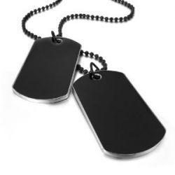 Justeel Herren Schwarz Armee Name Dog Tags Anhänger Necklace, 27 Zoll Schwarz Kette ,mit ketten (mit Geschenk Tüte)