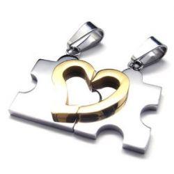 KONOV Schmuck 2 Freundschaftsketten Herz Puzzle Love Edelstahl Partner-Anhänger mit 45cm und 55cm Kette, Halskette für Damen & Herren, Gold Silber, mit Geschenk Tüte