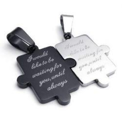 KONOV Schmuck 2 Freundschaftsketten Puzzle Love Edelstahl Partner-Anhänger mit 45cm und 55cm Kette, Halskette für Damen & Herren, Schwarz Silber, mit Geschenk Tüte