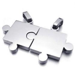 KONOV Schmuck 2 Freundschaftsketten Puzzle Love Edelstahl Partner-Anhänger mit 45cm und 55cm Kette, Halskette für Damen & Herren, Silber, mit Geschenk Tüte
