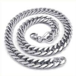 KONOV Schmuck Herren-Kette, Edelstahl Schwere groß Biker Königskette Halskette, Silber, Breite 12mm, Länge 55cm, mit Geschenk Tüte