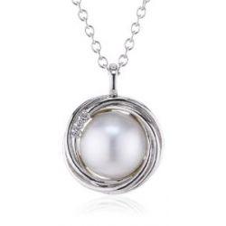 Merii Damen-Collier 925 Sterlingsilber rhodiniert Mabe-Zuchtperle weiß 45 cm M0543N/90/H8/45