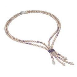 Pearl Dreams Damen-Halskette ohne Anhänger 925 Sterling Silber Süßwasser Zuchtperlen 2 reihig mit Amethyst A2267-K40-Am-SIR