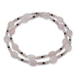 Pearl Dreams Damen-Halskette 925 Sterling Silber Süßwasser Zuchtperlen endlos natur 55-6mm ca. 90 cm mit Granat und Rosenquarz A2199/2-K-SIR