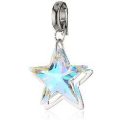 Swarovski Damen-Charm Swarovski-Kristall Metall gelb Double Star rhodiniert 1161142