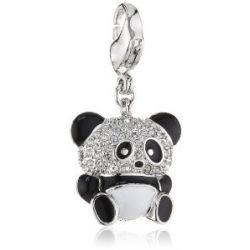Swarovski Damen-Charm Emaille Swarovski-Kristall Metall weiß Panda rhodiniert 1111133