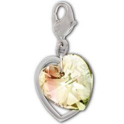 Swarovski Damen-Charm Swarovski-Kristall Metall Double Heart rhodiniert 1161132