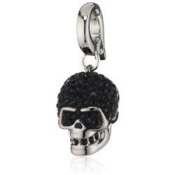 Swarovski Damen-Charm Swarovski-Kristall Metall schwarz Skull rhodiniert 1161118