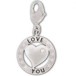 Swarovski Damen-Charm Swarovski-Kristall Metall weiß Coin rhodiniert 1161010