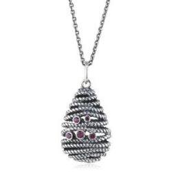 Pandora Damen-Halskette mit Anhänger Rhodolith rosa 925 Sterling Silber 390337RHL-90